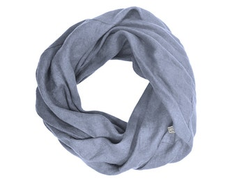 Serenity blue scarf Soft linen infinity scarves