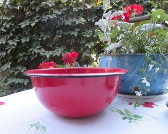 Vintage Enamelware Red Basin Chippy Tub Planter Country Chic