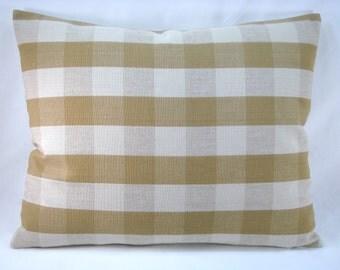 Check Lumbar Pillow Camel and Tan Check Pillow 19x15 Pillow Cover