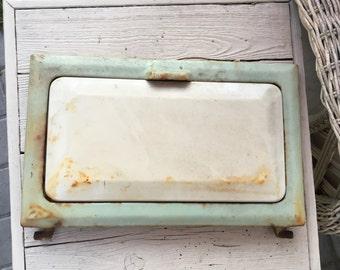 Vintage Minty Green Enamel Stove Memo Magnetic Door