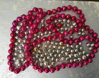 Vintage Fuchsia Pink And Silver Mercury Glass Christmas Garland