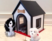 Black and white large dog house for 18 in American Girl or BOYS and GIRLS
