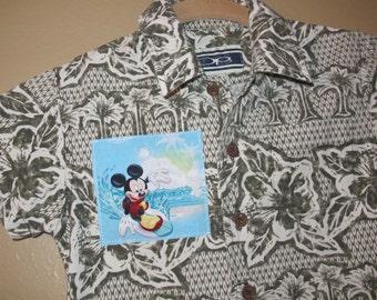Boys 3T Hawaiian shirt upcycle - Mickey - Disney - Cruise - Polynesian Resort