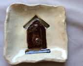 Bird house feeder pottery tray holder clay handmade usa country