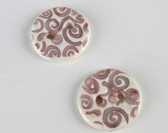 2 Medium Dark Russet Spiral Texture Buttons