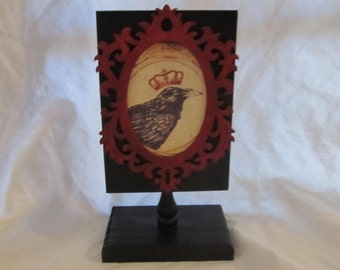 Crowned Raven Gothic Victorian Shelf Tabletop Decor