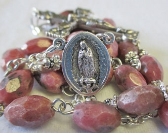 Handmade Chaplet of Our Lady of Guadalupe, Oval Faceted Rhodonite Gemstone Beads, OLO Guadalupe Sacred Heart Center