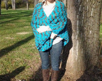 Chunky, Teal and Brown Shawl