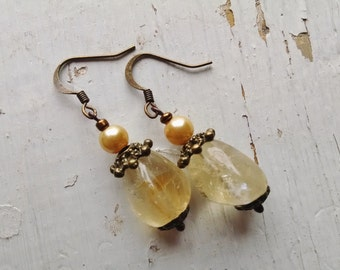 citrine dangle earrings, 1 5/8 inches, Antique gold citrine dangle earrings