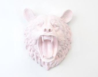 Faux Taxidermy - Fierce Light Pink Bear Wall Mount -Roaring Bear Faux Taxidermy OMBE06