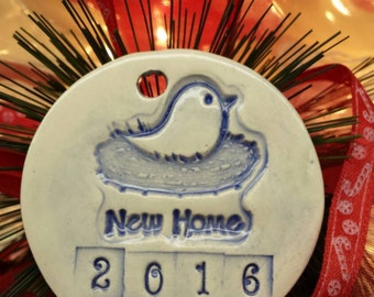 New Home 2016 Ornaments, Handmade Pottery, New Home Gift, Housewarming Gift