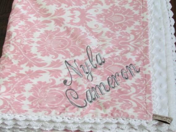 "Personalized Minky blanket- 31"" x 36""- Pink Damask minky baby blanket- Baby Blanket- Girl minky blanket- Crib Minky Blanket-Baby shower gift"