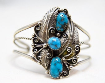 Vintage 3 Turquoise Stone Sterling Silver Native American Feather Leaf Cuff Bracelet
