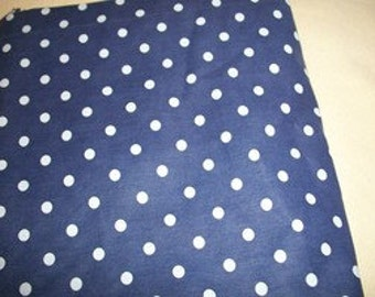 Blue Cotton Fabric with White Polka Dots