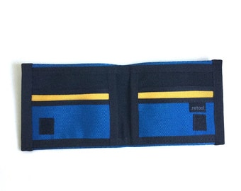 Blue and gold seatbelt wallet - Special edition - vegan billfold