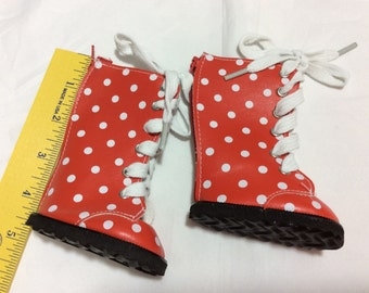 """Red polka dot boots, doll shoes, fit 18"""" like American Girl, doll clothes"""