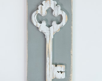 Vintage Key, Wooden Wall Art, Distressed Antique White Bead Board, Modern Rustic