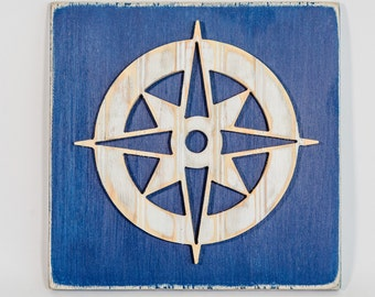 Compass Rose Wall Art, Wooden Distressed Antique Bead Board