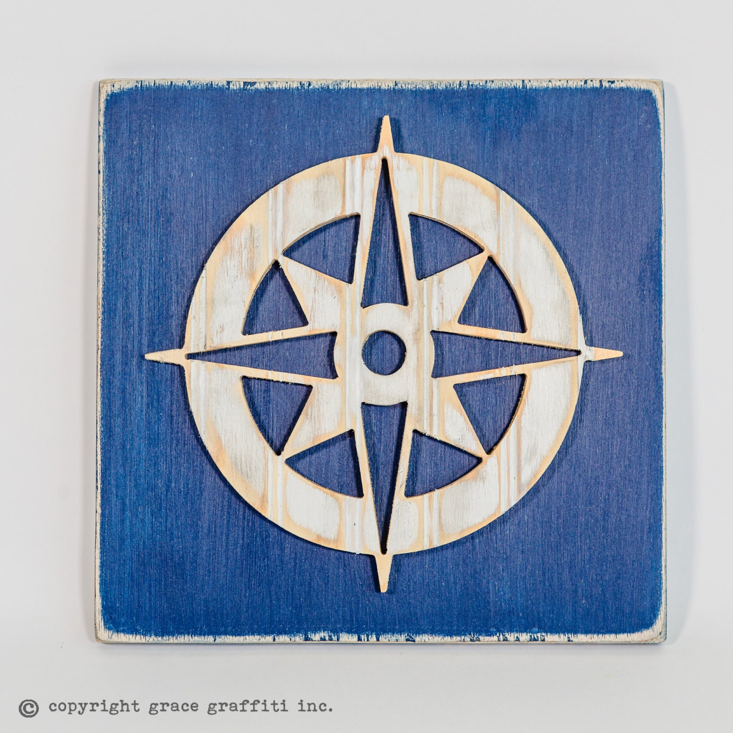 Vintage Compass Wall Decor : Compass rose wall art wooden distressed antique bead board