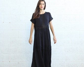 Eyelet Trim Party Dress , Black  maxi dress.