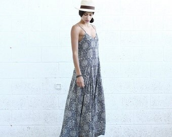 Summer SALE Summer Sale Flare Maxi dress, Blue White print.