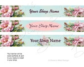Cottage Roses Custom Etsy Banner - Shabby French Cottage Pink Roses - You pick 1 of 3 Designs - Customized with Your Shop Name