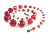 Art Deco Necklace. Antique Czech Glass Jewelry. Crystal Bead Choker Necklace. 1930s Vintage Art Deco Jewelry.