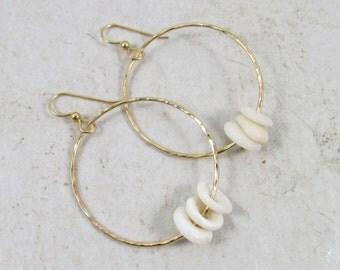 Gold Hammered Hoops, Hawaiian Puka Shell Hoop Earrings, Hawaii Beach Jewelry, Handmade Maui, Gift Idea, White Puka Shells, Summer Fashion