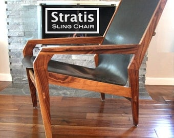 Stratis Sling Chair™  High Back Leather Lounge Chair , Made To Order-Handmade One of a kind, Mid Century Modern