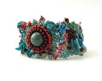 Christmas in July ON SALE Beaded bracelet Seed bead bracelet Teal and marsala bracelet, Freeform peyote bracelet, beaded jewelry, Unique gif