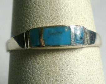 Sterling Silver Turquoise Ring-Size 6 3/4