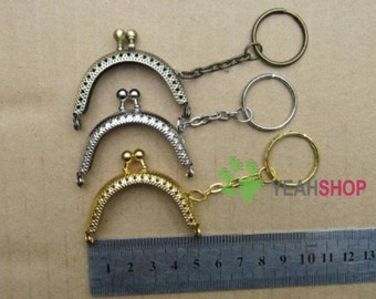 Half Round Snake Skin Mini Purse Frame with Key Ring - 5cm / 2 inch (MPF-3) - Select a Color