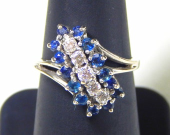 14k White Gold Statement Ring with Diamonds and Blue Stones