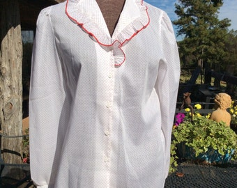 Inner Visions vintage women 10 white dotted blouse with ruffled collar
