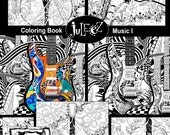 10 Pack Printable Adult Coloring Printable, Adult Coloring Pages, Set of 10 Music Art Coloring Posters, Instant Download by Juleez