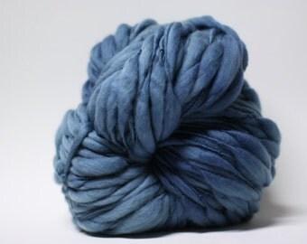 Thick and Thin Yarn Handspun Wool Slub  tts(tm) Superfine Merino Hand dyed Half-Pounder Slate 02 Super Bulky