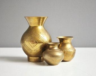 Trio of Vintage Brass Petite Vases