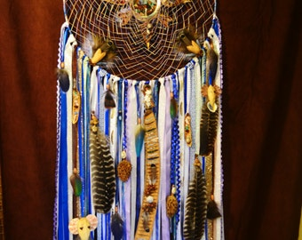 Energy Lighthouse Dream Catcher- Giant Dream Catcher- Dream Catcher with Stones and Seed Pods- Ribbon and Feathers