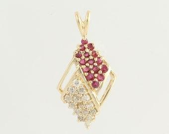 Ruby & Diamond Pendant - 14k Yellow Gold April July Birthstones .69ctw N383