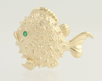 Textured Fish Brooch - 14k Yellow Gold Emerald Accent May .05ct N776