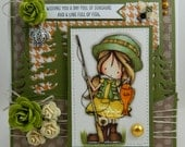 Wishing You Fishing Handmade OOAK Keepsake Card