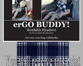 erGO BUDDY Bendable baby / toddler headrest carseat pillow and cover in Navy Plaid