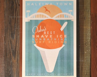 Haleiwa Town - 12x18 Retro Hawaii Travel Print