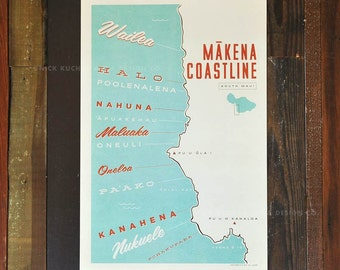 Makena Coastline, Maui - 12x18 Retro Hawaii Travel Print