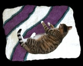 Cat Bed - Cat Mat - Hand Felted Wool Throw Rug - Pet Mat - Pet Bed - Purrple Abstract - Ready to Ship