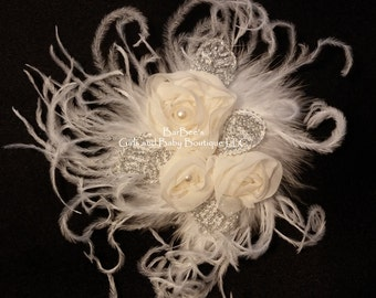 Ivory or White Chiffon Flowers topped with pearls,  silver leaves and Ostrich Feathers, photo prop, flower girl, bride, wedding