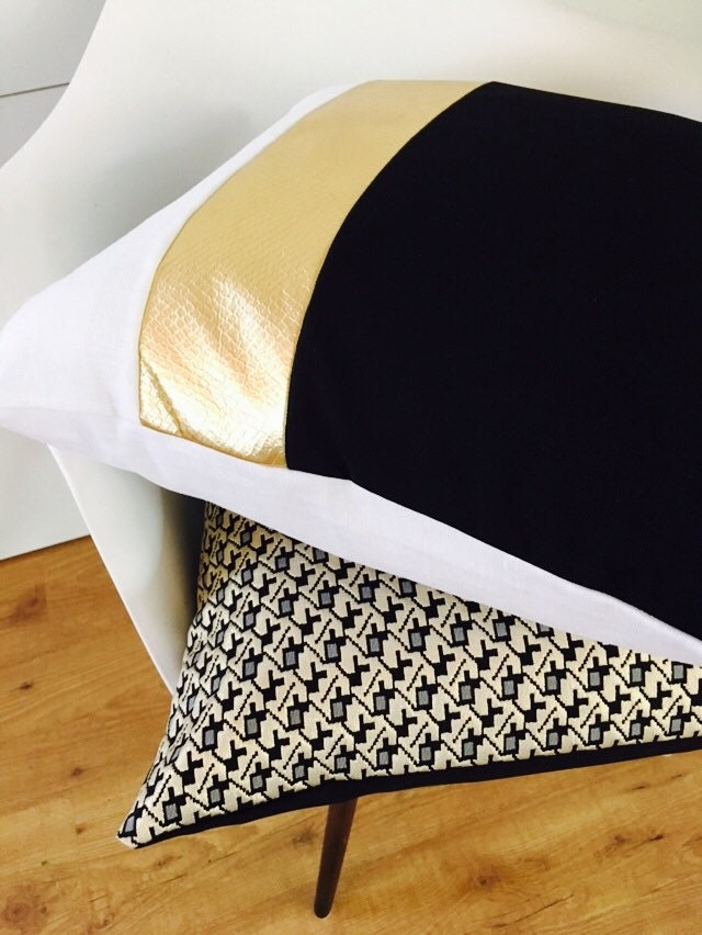 Modern Glam Pillows : Black and White Pillow Cover 18x18 Cushion Color Block Design Metallic Gold Stripes Wide Striped ...