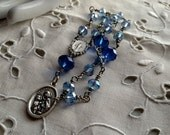 Chaplet in Blue Crystal, Chaplet for Baptism, Chaplet for Confirmation, Blue Rosary