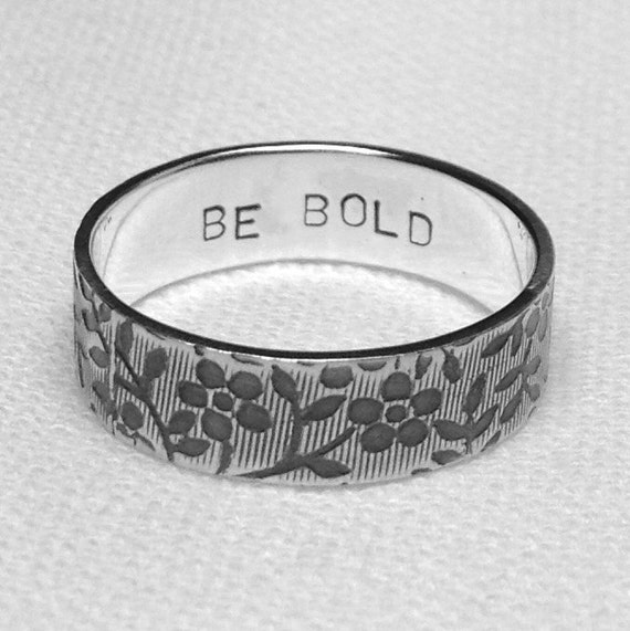 Alternative Silver Wedding Gifts : Oxidised Silver Engraved RingPersonalised Ring, Alternative Wedding ...