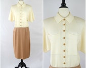 Vintage St. John by Marie Gray cream and brown knit dress / retro sweater dress